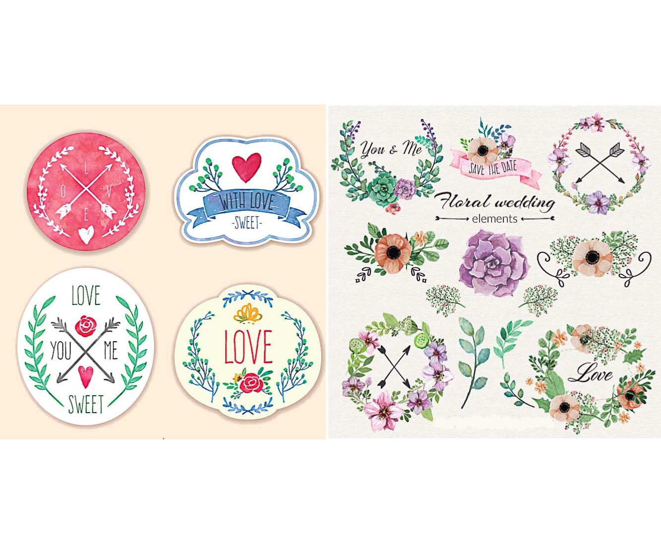 Wedding badges with flowers and arrows cute set vector