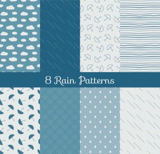 Rain and clouds patterns set vector