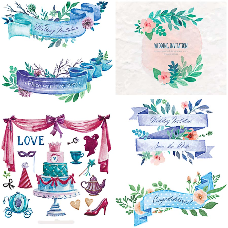 Wedding watercolor elements with ribbons set vector
