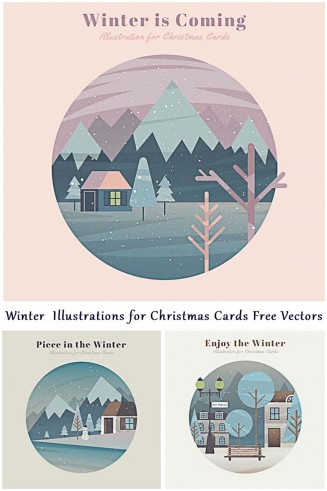 Lovely winter illustrations free vector set