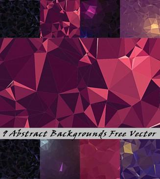 Purple geometric backgrounds free vector set