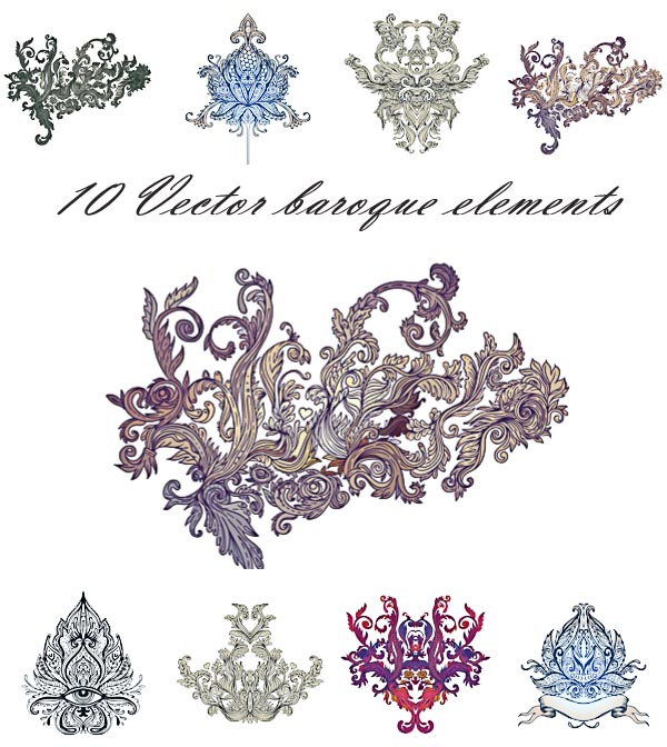 Baroque ornaments vintage set vector