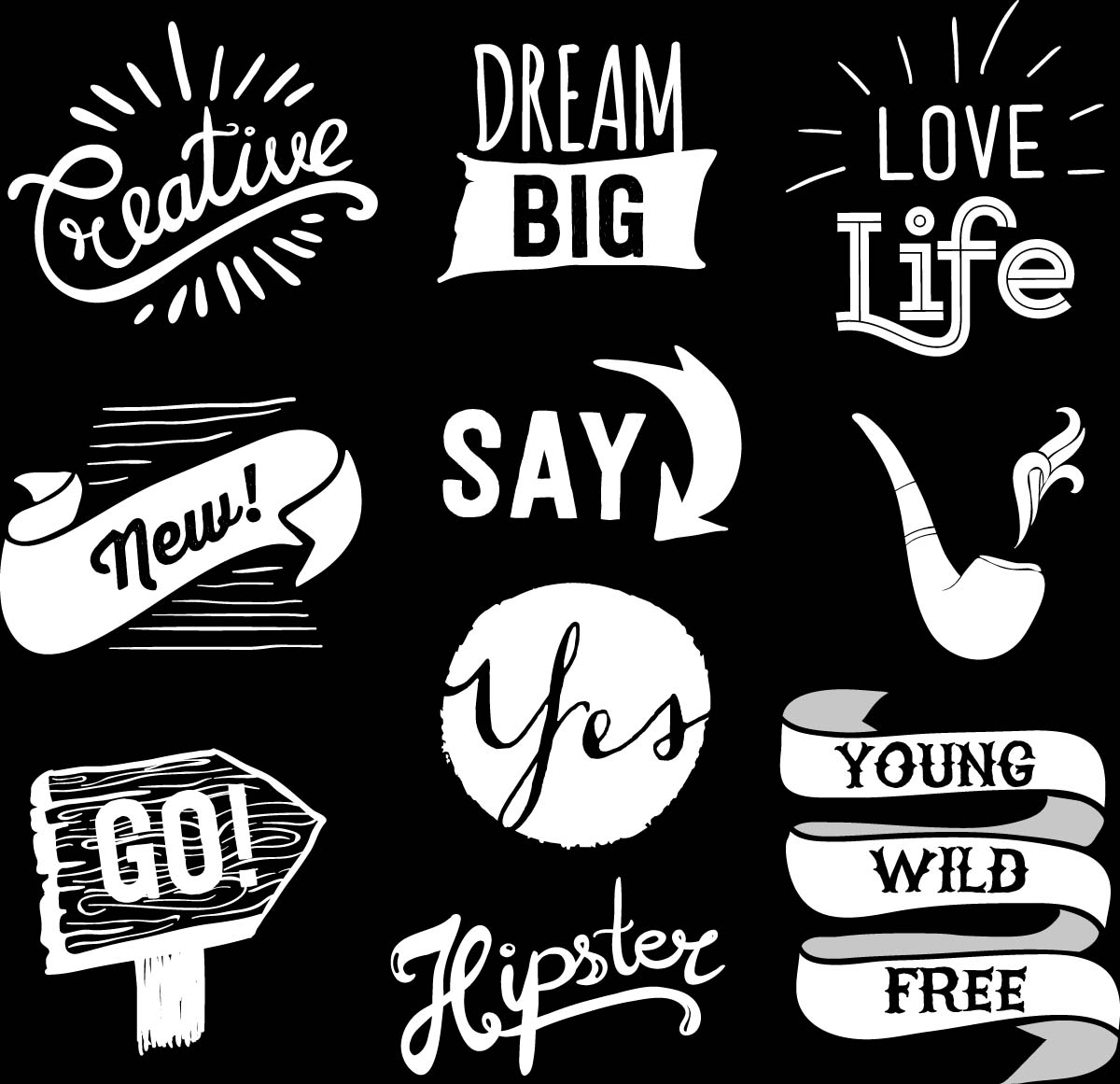 Hand drawn hipster elements badges and labels set vector