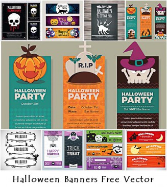 Colorful Halloween party vectors with pumpkins