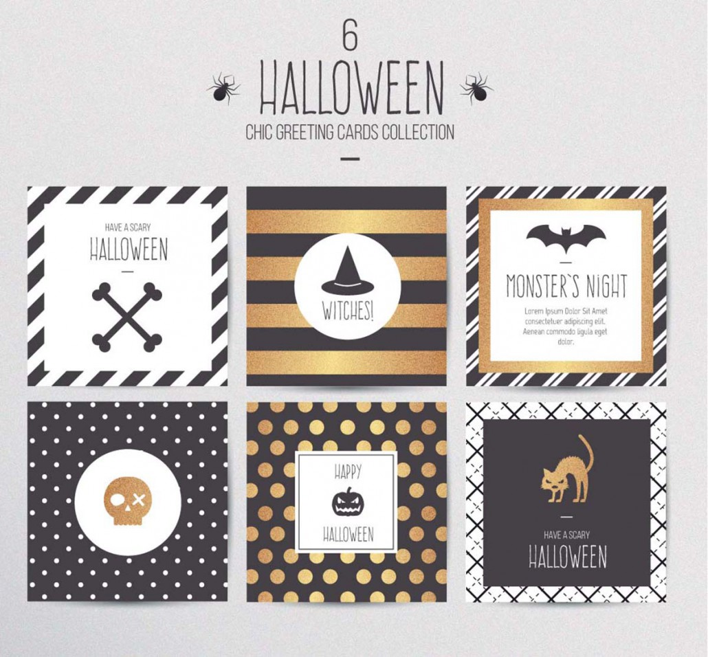 Halloween chic gift cards vector free download stopboris Image collections