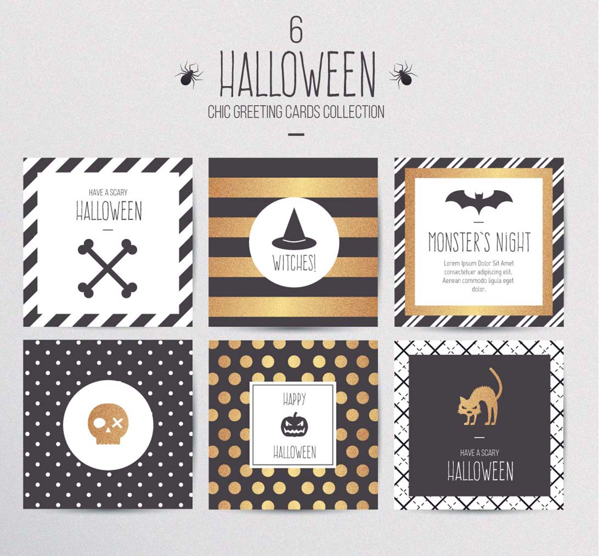 Halloween cards with patterns set vector