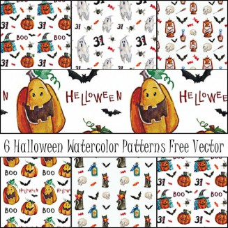Halloween watercolor patterns with ghosts free vector