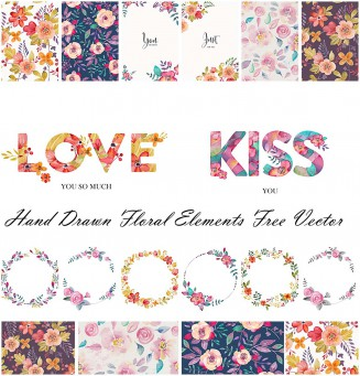Romantic floral elements hand drawn vector art