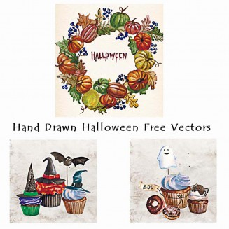 Halloween cupcakes watercolor vector card set