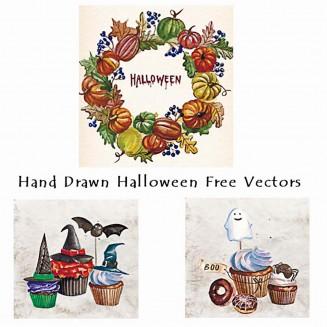 Halloween cupcakes watercolor vector card set