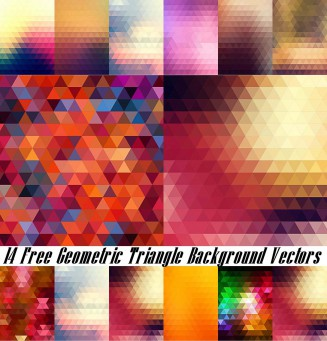 Colored triangle vector backgrounds set