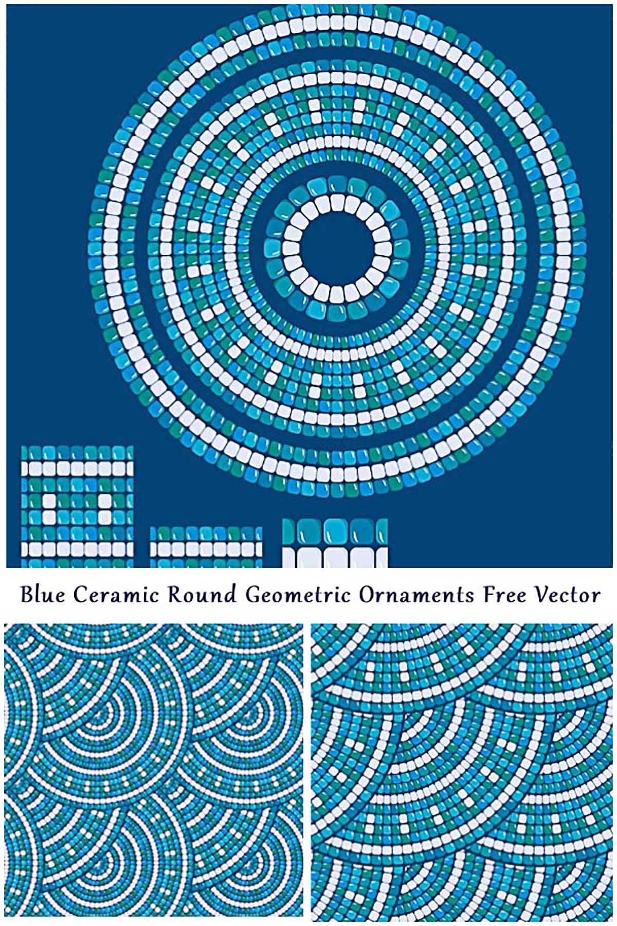 Blue mosaic seamless pattern free vector