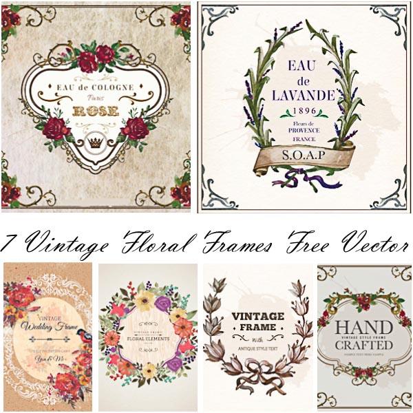 Vintage floral frames ornamental free vector