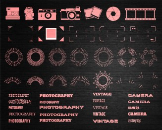 Retro photography elements collection of vectors
