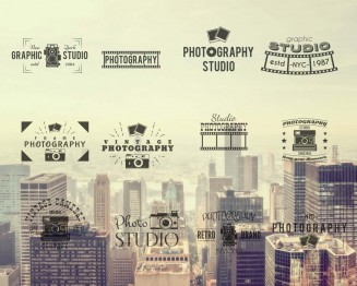 Vintage photography logotypes collection of vectors