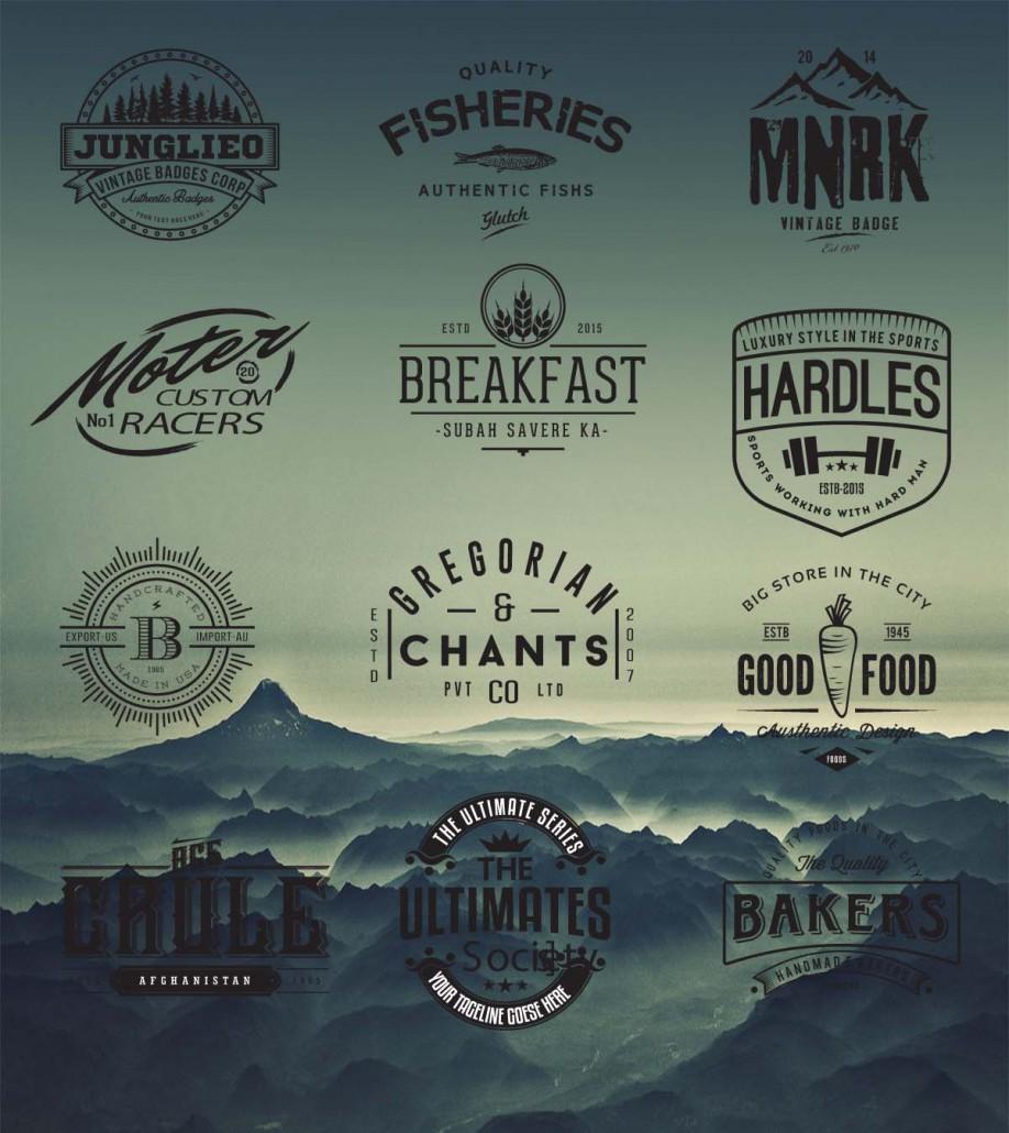 Vintage Logo Design: Retro Logo And Badges Cafe Hipster Vector