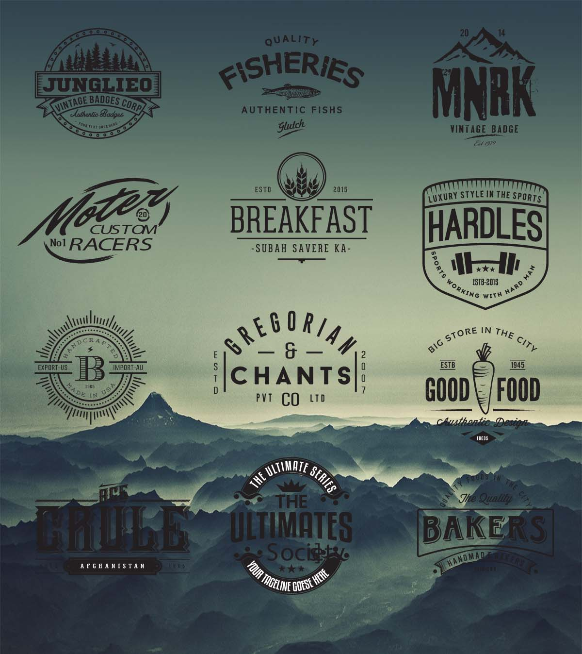 Retro logo and badges cafe hipster vector free download