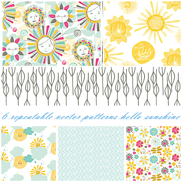 Hello sunshine cute pattern set vector