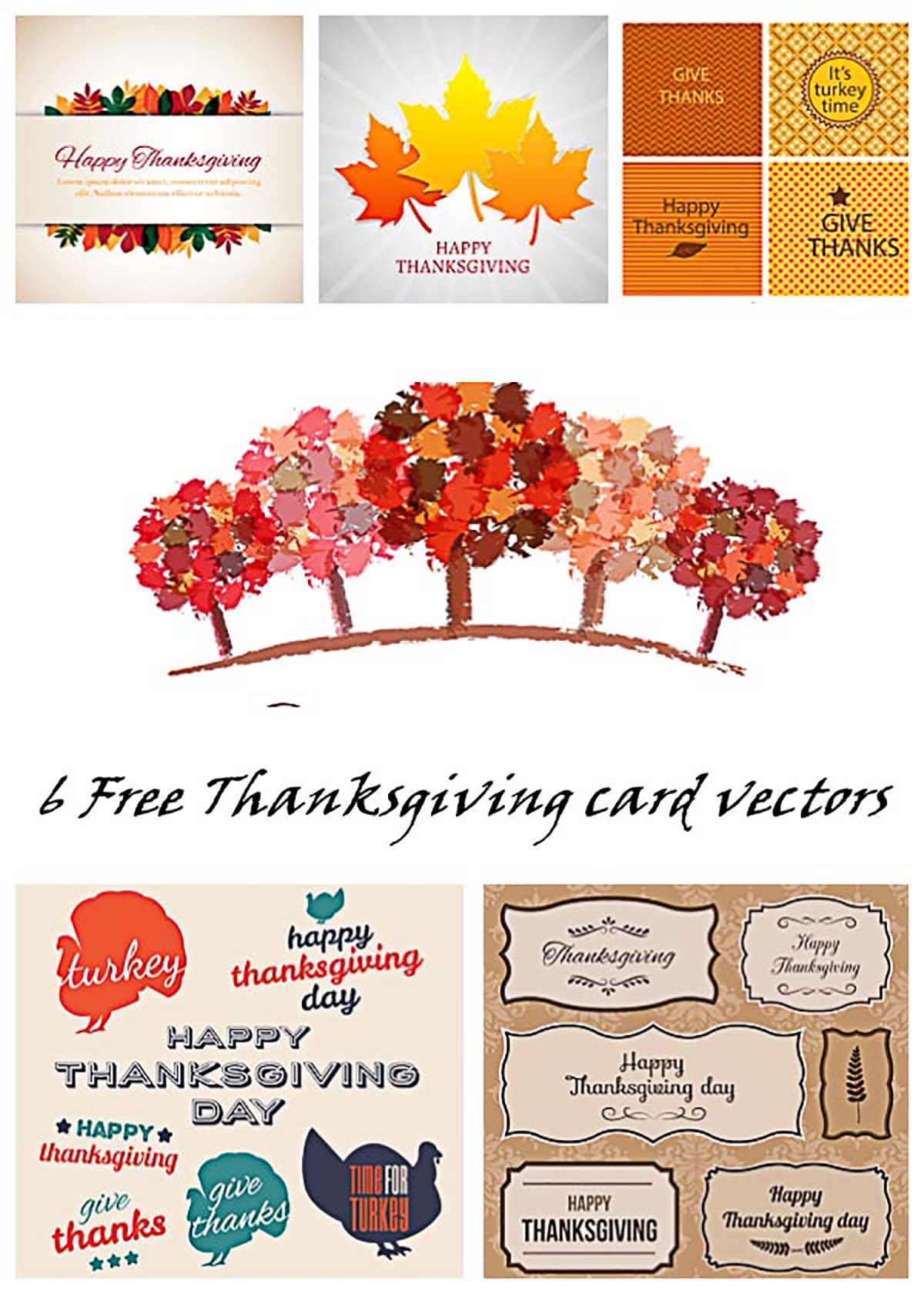 Thanksgiving day gift cards and stickers set vector