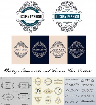 Ornamental vintage borders and frames free vector