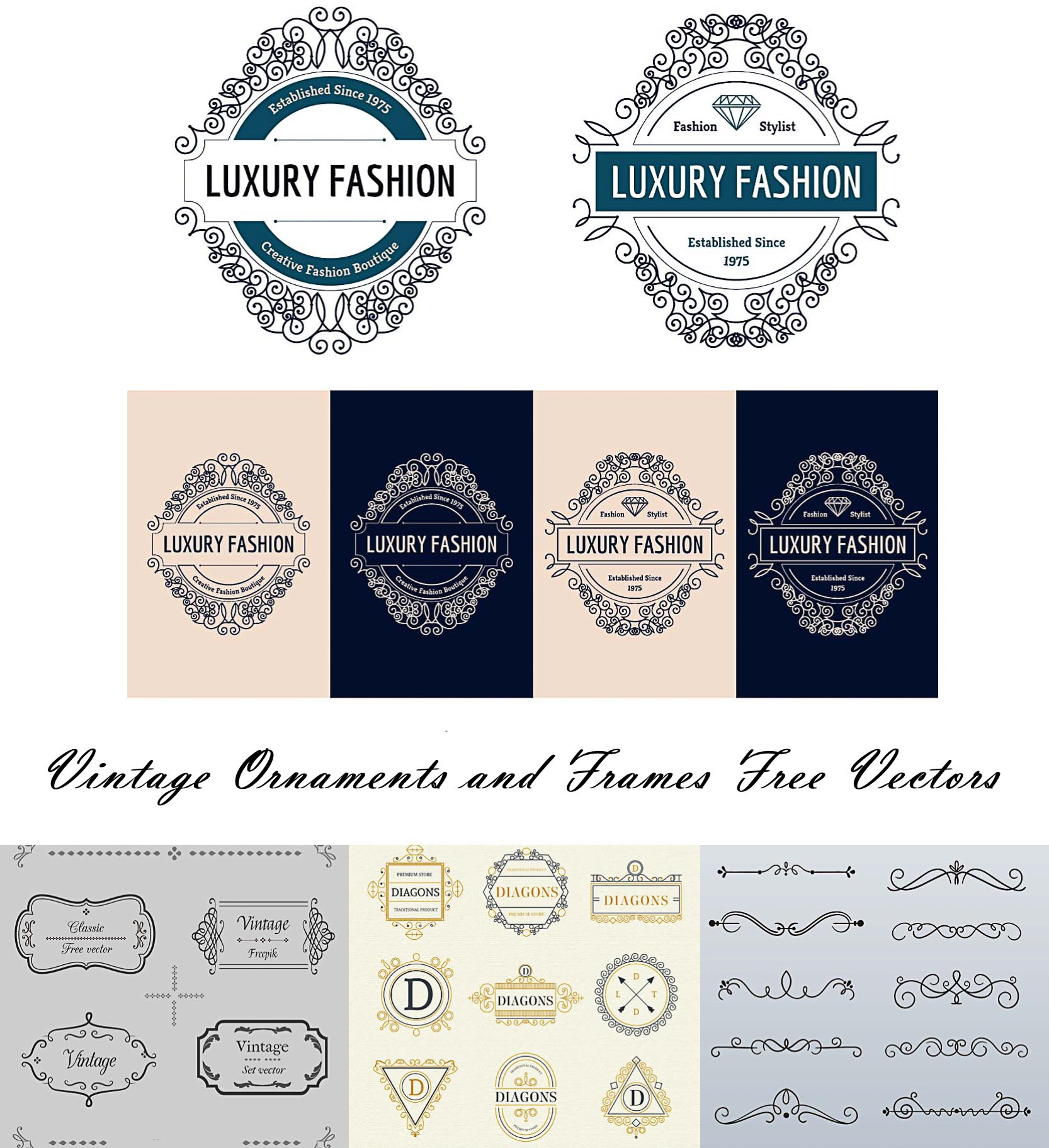 Ornamental vintage borders and frames free vector
