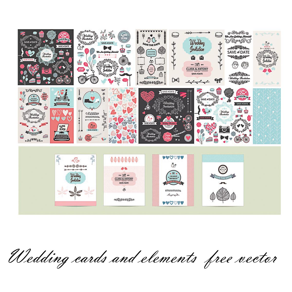 Wedding postcards and patterns set vector