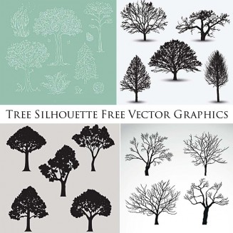 Winter tree silhouettes free vector graphic