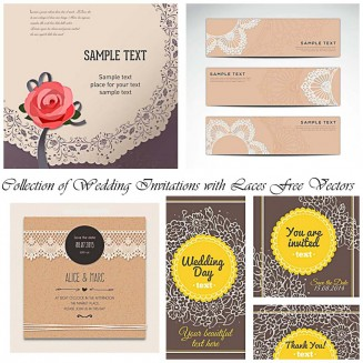Wedding invitation card with laces and flowers vector collection