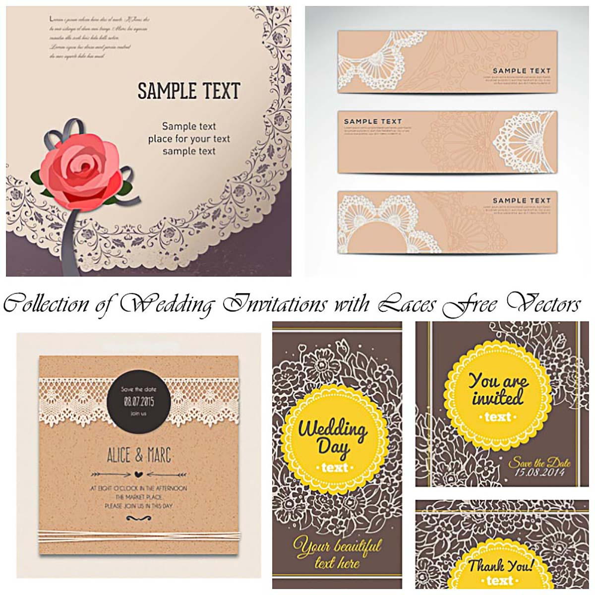 Wedding invitation vector illustration vector free download - Cute Wedding Invitations With Laces Vector Free Download Wedding Invitations