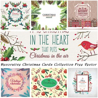 Christmas decorative cards and illustrations hand drawn vector