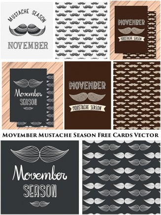 Movember mustache season hand drawn card vector