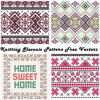 Abstract knitting pattern in Ukrainian style vector