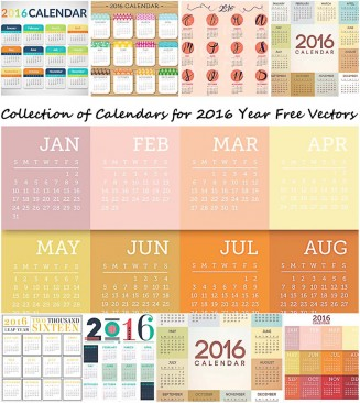 Modern European 2016 year calendars vector