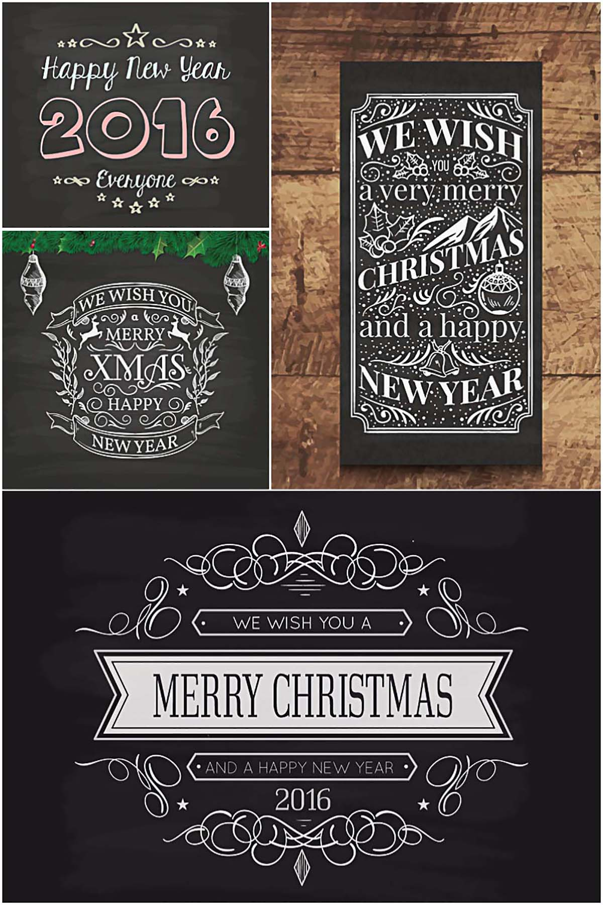Christmas cards on blackboards retro vector collection