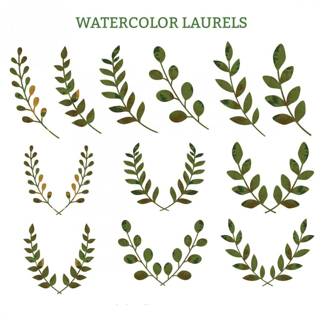 Watercolor Laurels Green Decorative Vector Free Download