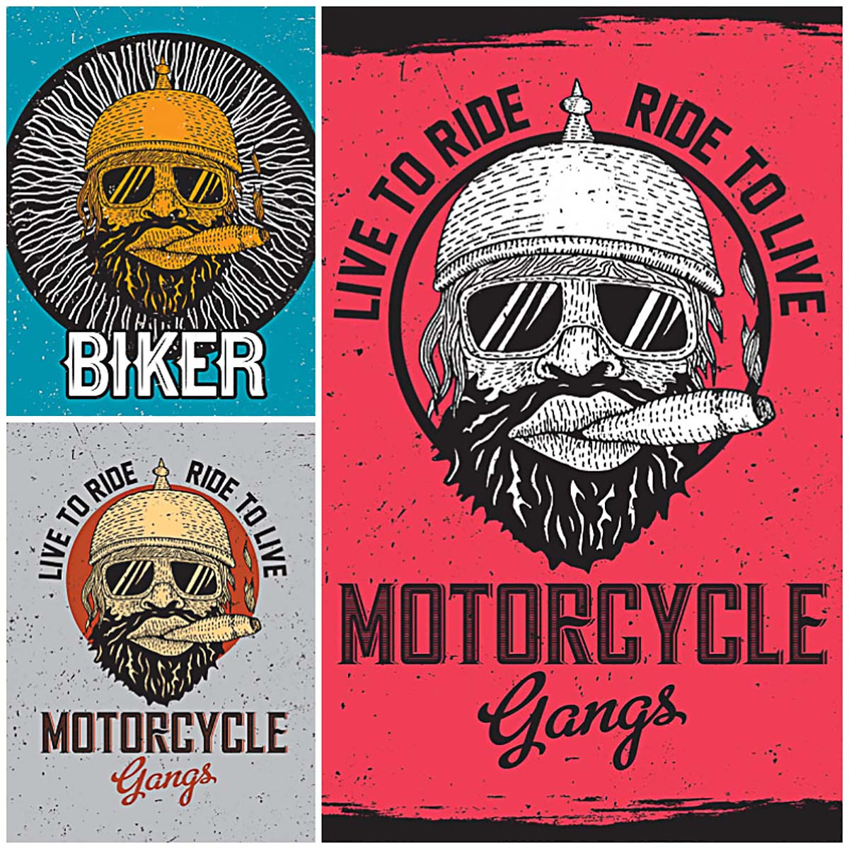 Motorcycle brutal face t-shirt print vector