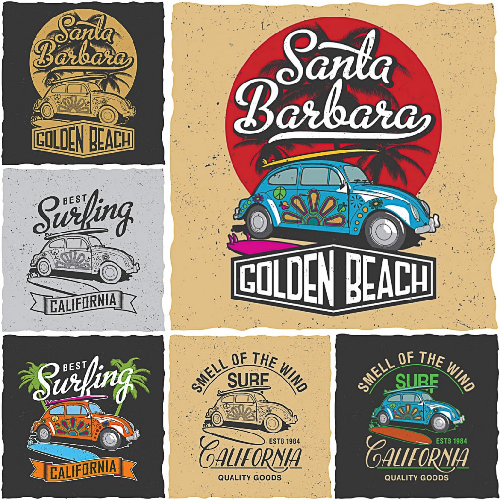california surfing t shirt prints vector free download