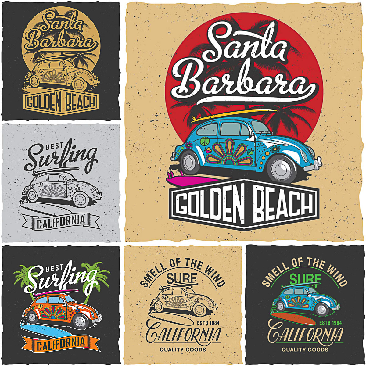 Retro surfing California t-shirt prints vector