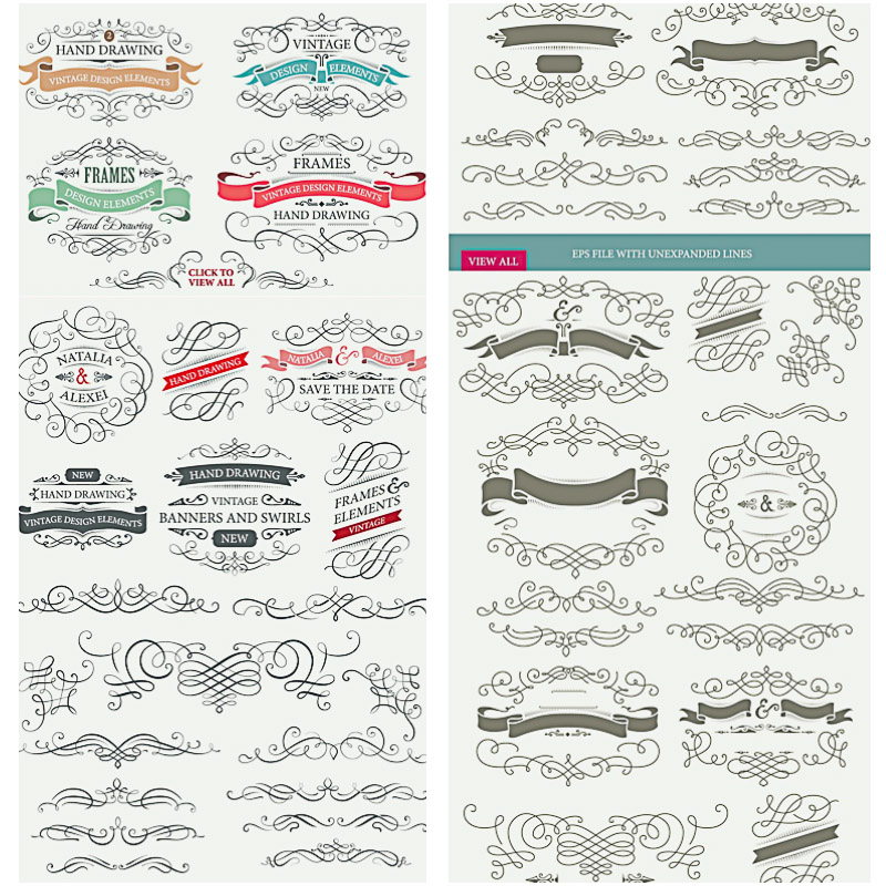 Vintage calligraphic ornaments and frames design vector