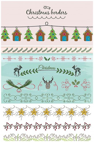 Lovely Christmas borders and dividers vector collection