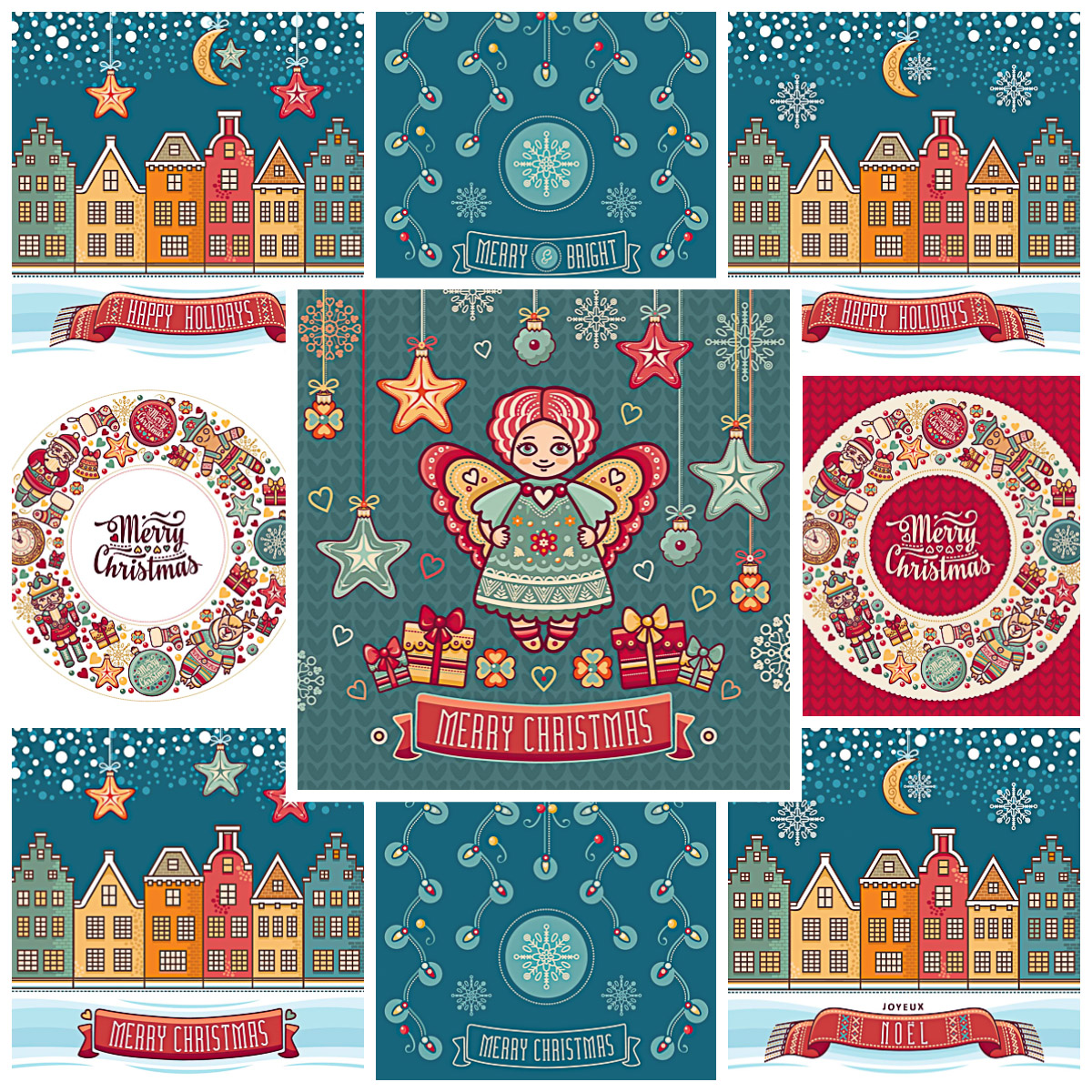 Collection of lovely Christmas cards with angels and stars free vector