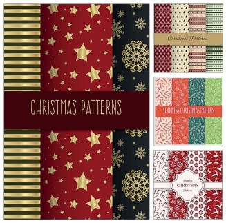Cute Christmas patterns wrapping paper vector