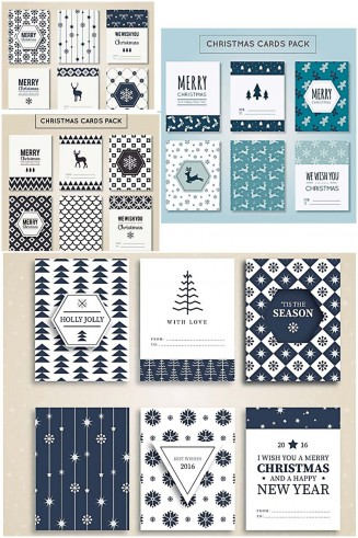 Modern Christmas and New Year postcards with festive pattern