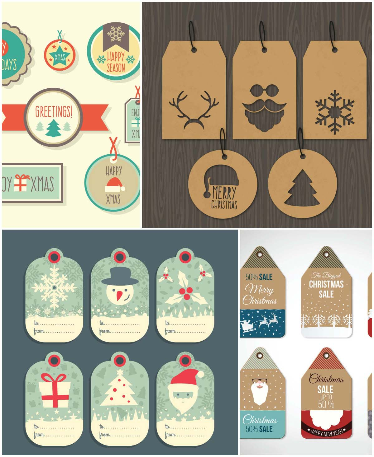 retro tag fot Christmas and New Year sales vector