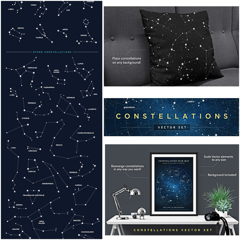 Constellations backrounds and illustrations vector set