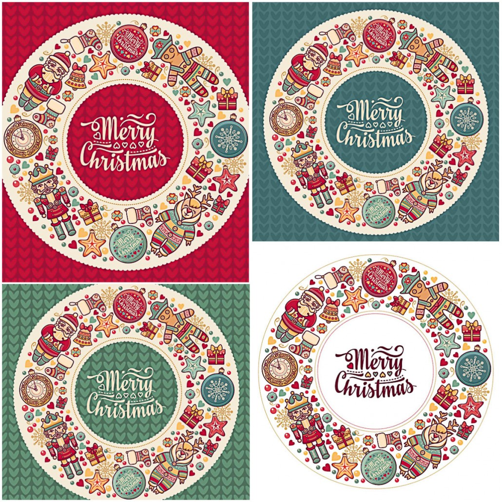 Jolly cards with Christmas rings