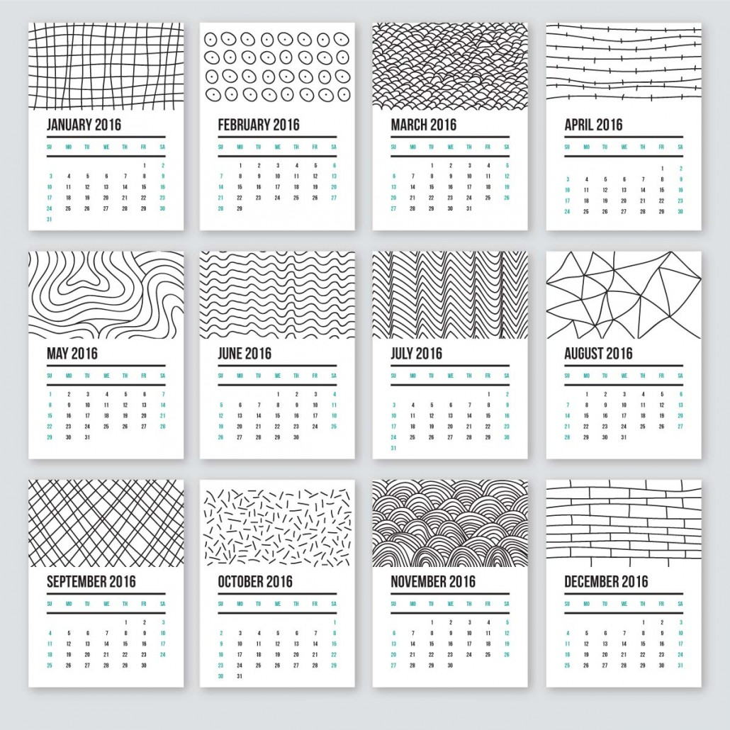 Cute Calendar 2016 In Doodle Style Free Download