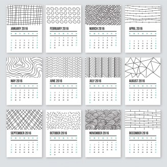 European calendar 2016 year in doodle style free vector