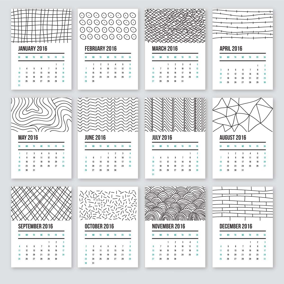 Cute Calendar Templates 2016 : Cute calendar in doodle style free download