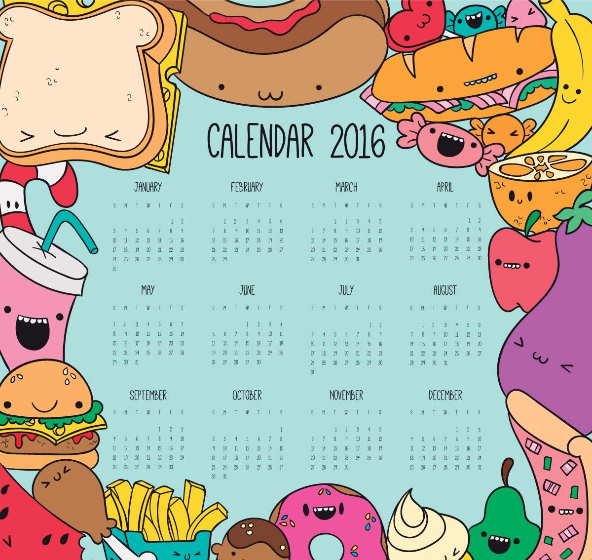 Cute cartoon calendar for 2016 year with fast food